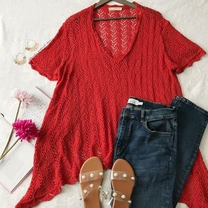 UO Starring at Stars Red Knit Tunic